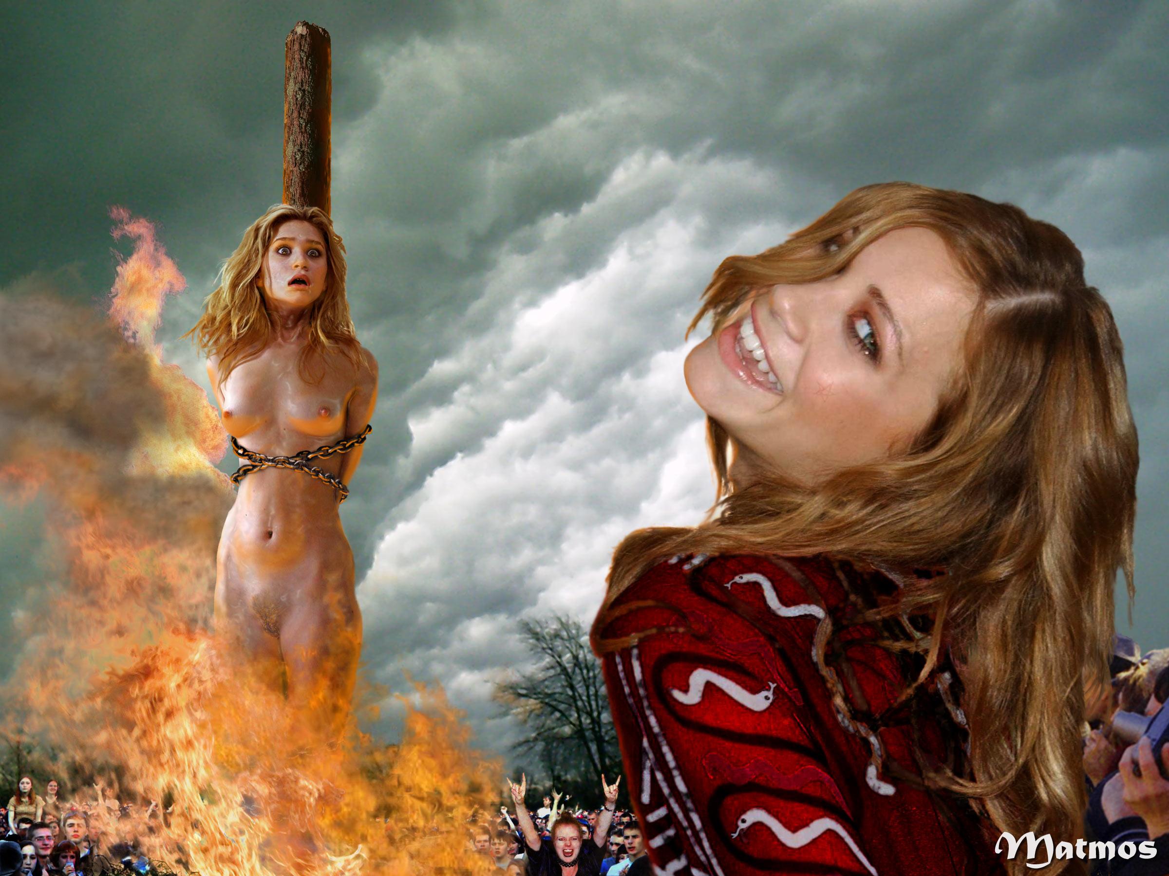 Nude girls burning alive